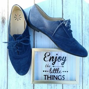 Isaac Mizrahi Live Fiona blue suede oxford loafers